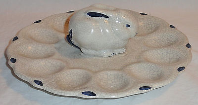 Vintage Dedham Pottery 12-Section Deviled Egg Rabbit Bunny Plate Made In 1981 EA