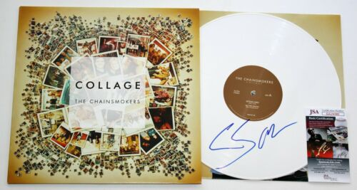 THE CHAINSMOKERS SIGNED COLLAGE EP ALBUM VINYL RECORD LP AUTOGRAPHED +JSA COA