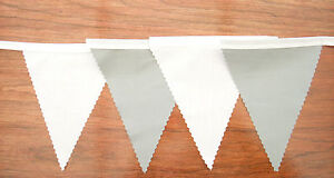 Quality Fabric Bunting - SILVER & White, Wedding, Street Party, Decoration,