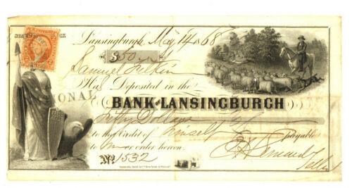 Bank of Lansingburgh Check. 1868.  New York.