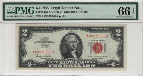 1963 $2 LEGAL TENDER RED SEAL FR.1513 PMG CERTIFIED GEM UNCIRCULATED 66 EPQ