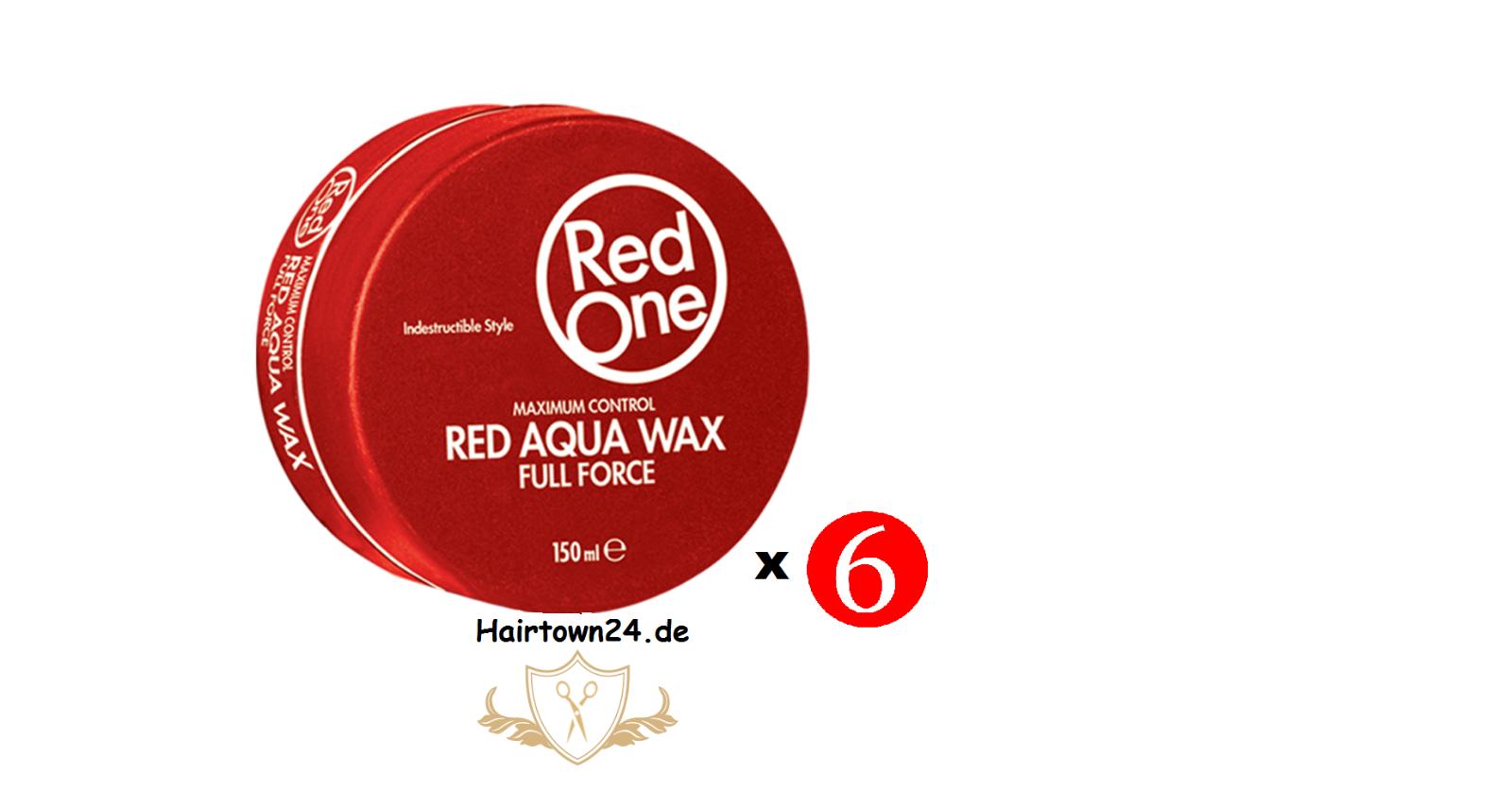 6x RedOne Gel Aqua Hair Wax Full Force Red Rot 150ml Haarwachs Gel-Wax Haargel