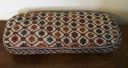 Large Antique French Glass Bead Beaded Pillow Bolster