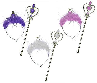 Heart Tiara Headband & Wand Set Princess Feather Trim Jewelled Fairy Dress Up