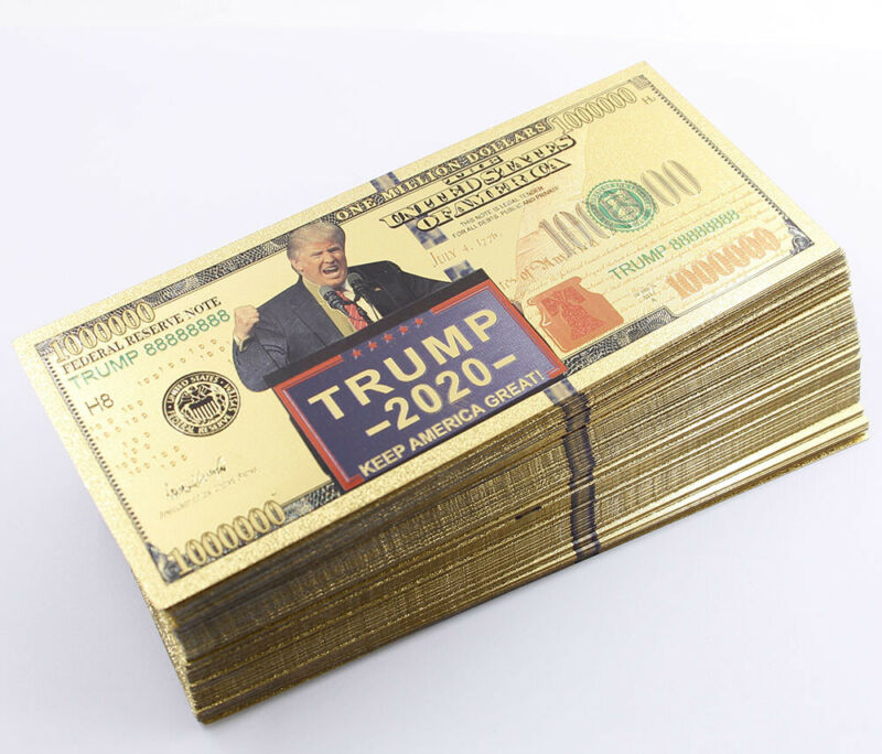 Lot 100 Pcs Gold Banknote Trump 1 Million US dollar Money Craft Gift Collection