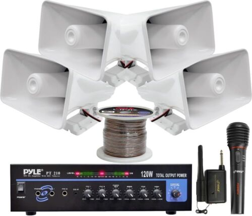 Pyle KTHSP330 120W PA Amplifier System with Horn Speakers &