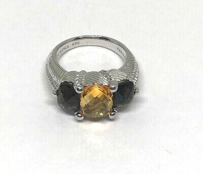 Judith Ripka Three-Stone Smoky Quartz & Citrine Sterling Silver Ring, Sz 7.75