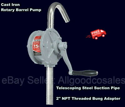 55 Gallon Drum Transfer Rotary Barrel Pump Cast Iron Fuel Water Kerosene Oil