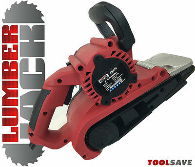 "Lumberjack 3"" 76mm Electric Belt Sander 1010W with Dust Bag & Sanding Belts 240v"