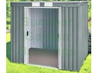 """METAL SHED - 7'11"""" x 8'7"""" - GALVANIZED STEEL, PENT ROOF, FOUNDATION RAILS"""
