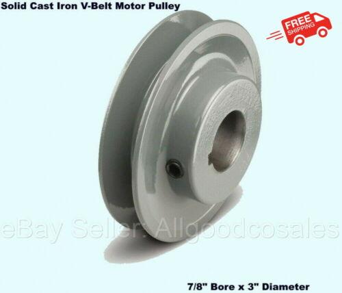 "V-Belt Motor Pulley 7/8"" Bore x 3"" Diameter Solid Cast Iron Set Screw Fixed Bore"