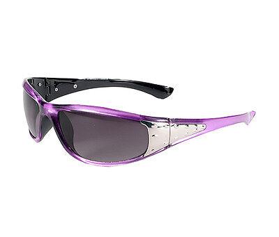 Gradiant Lens - CHIX Sterling Women's Purple Frame Grey Gradiant Lens Sunglasses w/ Chrome Sides