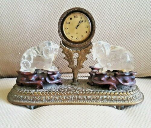 ATQ/VTG Late 1800s/Early 1900s~Ornate Brass/Wood w Glass~RAMS/SHEEP~8 Day CLOCK
