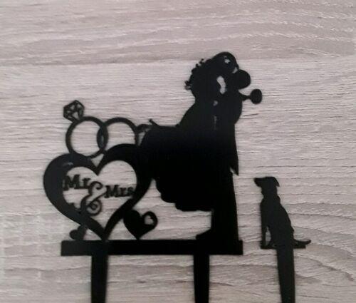 Caketopper Tortenfigur neu MR MRS schwarz  Hochzeit Hund Haustier Herz