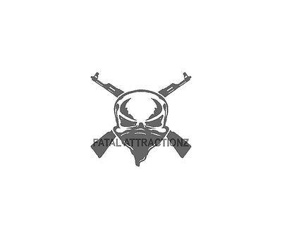 Bandana Dekorationen (Skull and Cross Guns Bandana Vinyl Decal Sticker ak 47 gun rifle weapon ar 15)