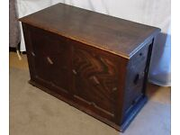 Antique Vintage Dark Oak Solid Wood Blanket Storage Bedroom Chest