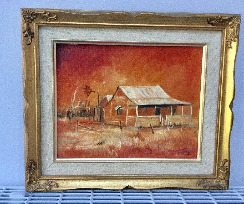 1950s ORIGINAL OIL PAINTING, SIGNED, GOLD WOODEN FRAME, MID CRNTURY ...