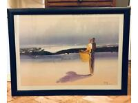 Beach scene artwork print in frame