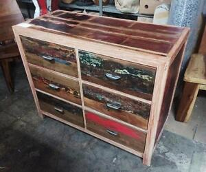 Commode Tiroirs Bois Teck peint -Indonésie // Teak Wood Chest with drawers from Indonesia