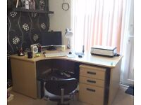 Large office desk with matching filing cabinet, good condition.
