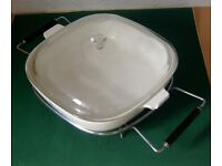 Rectangular Vintage Corningware Casserole Dish with Table Top Stand