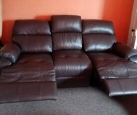 Chocolate electric 3 seater leather sofa