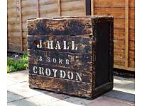 Large Vintage Shabby Chic Rustic Crate Storage Box