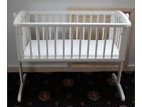 REDUCED // Mothercare White Swinging Crib With Mattress