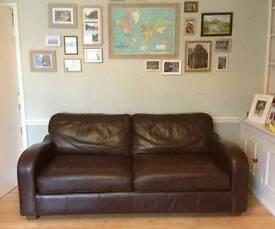 Habitat brown leather sofa