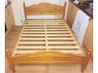 Solid wood pine double bed frame