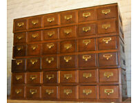 1940s six draw cabinet card index holder wooden industrial antique vintage haberdashery apothecary