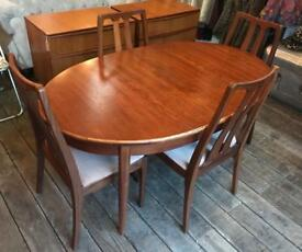 Teak Mid Century Extending Dining Table With Four Dining Chairs by Nathan