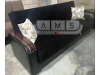 BRAND NEW 3 SEATER FABRIC STORAGE SOFA BED, CORNER SEATER SLEEPER LEATHER SETTEE - SAME DAY DELIVERY