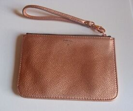 FOSSIL Metallic LEATHER Wristlet Clutch Organiser Bag Phone Cardholder (Can Post)