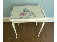 Retro / Vintage White Occasional Coffee Table with Glass Top with Curved Legs