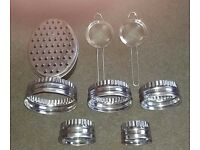 Stainless pastry cutter set , 2 x strainers and a grater with container