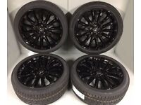 "Genuine New 2017 22"" Style 707 Turbines Full Gloss Black Range Rover Autobiography Set of 4 & tyres"