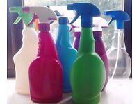 Job Lot of 8 Assorted Empty Multi Purpose Refillable Trigger Spray Bottles.