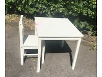 Ikea white children's table and chair