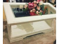 Shabby chic. Glass top cream coffee table