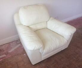 Cream coloured leather armchair