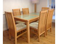 Beech And Glass Dining Table Six 6 Long Back Chairs
