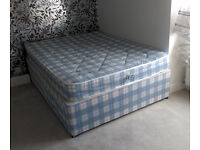 Double divan bed with sprung mattress