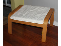 Ikea Poang footstool, Oak with cream cushion
