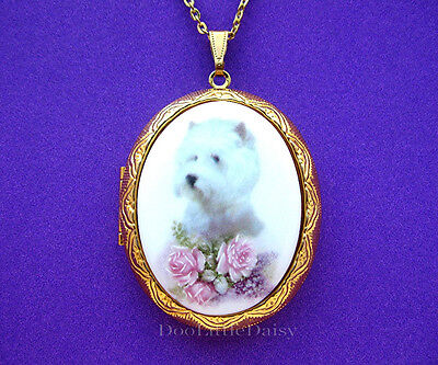 Porcelain WEST HIGHLAND TERRIER WESTIE DOG & Pink Roses CAMEO Locket Necklace