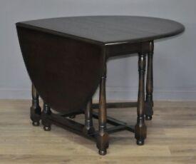 Attractive Large Vintage Dark Oak Turned Gate Leg Drop Leaf Dining Table