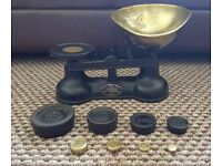 SALTER Cast Iron Vintage Kitchen Scales +8 IRON & BRASS weights