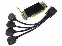 Matrox M9140 - E512LAF PCIe X16 512MB Graphic Card + Matrox 4 Way DVI Splitte