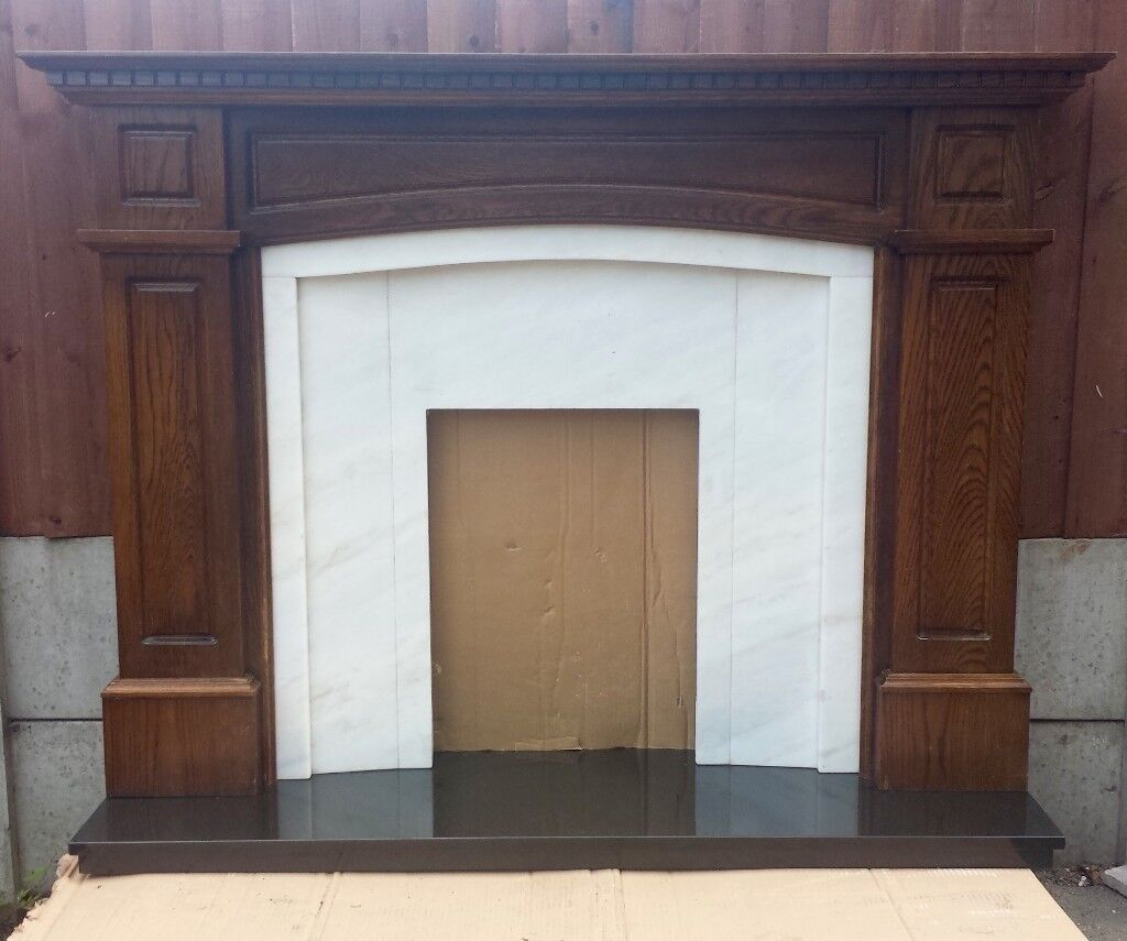 58 inch Solid Oak Mantle c/w Natural Marble Back Panel and Pure Granite Hearth