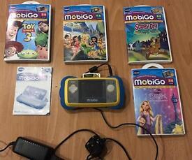vtech MobiGo handheld console system blue tablet handheld + 5 games & Charger